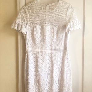 Club Monaco white lace ruffle sleeve dress